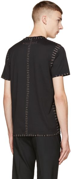 Givenchy: Black Printed Stitch T-Shirt   SSENSE