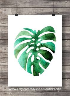 Printable art Watercolor Monstera leaf Fruit by SouthPacific