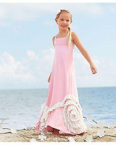pink ruffles maxi girls dress