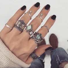 ✧ Icy Layers! ✧ How will you wear yours? ↣↣ Visit www.shopdixi.com / boho / bohemian / rings / blue topaz / opal / rings