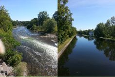 The Rideau at Merrickville, the untamed river to the left, the Rideau Canal below the locks feet from the other photo. Locks, River, Outdoor, Outdoors, Door Latches, Rock, Outdoor Games, Outdoor Living, Rivers