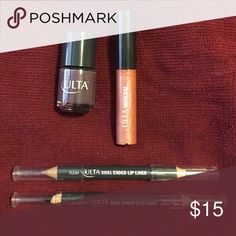 BRAND NEW Ulta Beauty Set BRAND NEW Ulta Beauty nail polish, mineral lip gloss, dual-ended lip liner and eyeliner. Ulta Beauty Makeup