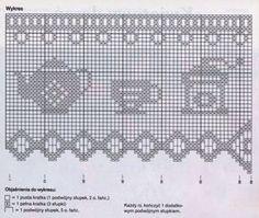 Free Pattern: Cross-stitch On Gingham Filet Crochet Charts, Crochet Borders, Crochet Stitches, Knit Crochet, Crochet Patterns, Crochet Curtains, Lace Curtains, Crochet Doilies, Fillet Crochet