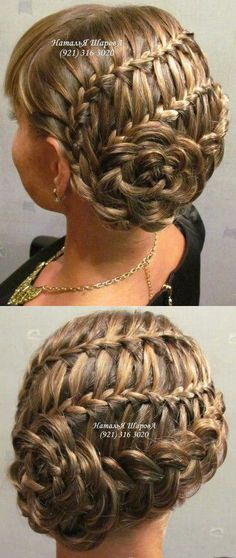 2 waterfalls and dutch braid into flower updo