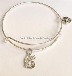 Silver Plated Artists Palette Charm Bracelet Artist Pallet Art Teacher Gift USA #Unbranded