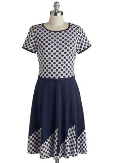 It's A-boat Time Dress. Walking along the dock in this Myrtlewood dotted dress - a ModCloth exclusive - you hear a friendly voice call out your name. #blue #modcloth