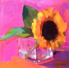"""Daily Paintworks - """"Sunflower Hot Pink"""" - Original Fine Art for Sale - © Katharine March"""