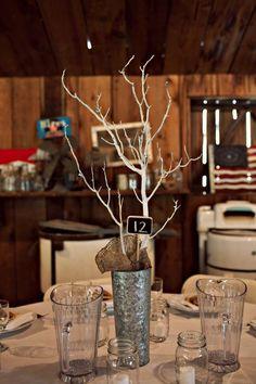 Tin buckets. burlap. branches. Love.
