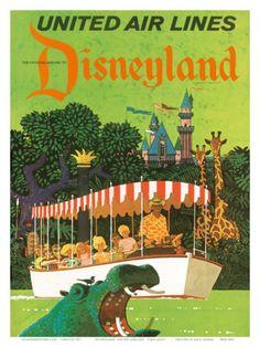 Retro Disneyland & United Airlines! Postcard/poster
