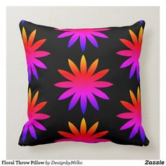 Floral Throw Pillow #pillow #square #homedecor #home #interiordesign #interiors #interiorstyling #bedroomdecor #zazzle #zazzlemade #zazzlecom #zazzlestore #flower #black #autumn Designer Pillow, Pillow Design, Floral Throw Pillows, Diy Bedroom Decor, Bedroom Ideas, Custom Pillows, Home Decor Items, Girls Bedroom, Interior Styling