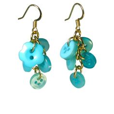 Cute Earrings, Upcycled Button Jewelry in Turquoise