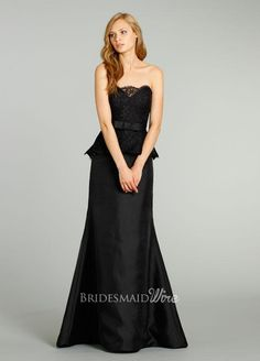black strapless scalloped neck bridesmaid gown with lace peplum
