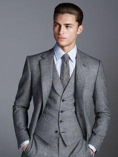 Gieves Hawkes three piece gray suit A/W 2014 #menswear mens fashion