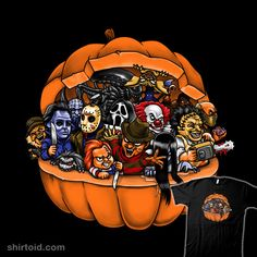 This Halloween pumpkin t-shirt features a variety of Halloween villains from your favorite Halloween movies. Shop our Horror t-shirt collection today! Horror Cartoon, Funny Horror, Horror Icons, Horror Films, Horror Posters, Halloween Movies, Halloween Horror, Scary Movies, Halloween Art