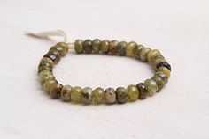 Lucky gemstone bracelet Green garnet and peridot bracelet Beaded jewelry Stacking bracelet Prosperity Money Genuine green gemstones