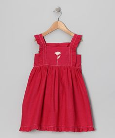 Loving this Sugar by Cupcakes & Pastries Hot Pink Embroidered Dress - Girls on #zulily! #zulilyfinds
