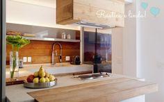 Cozinha com ilha, cooktop e coifa - Comprando meu APê!