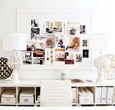 white storage behind desk + inspiration board