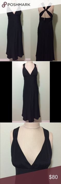 J Crew Avery Cross Back black silk dress, size 6 Black J. Crew Avery Cross Back formal dress, size 6. 100% silk, lining 100% polyester. Brand-new with tags. J. Crew Dresses