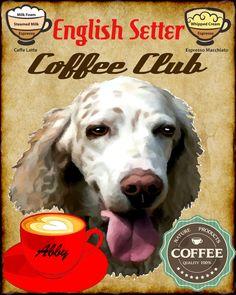 English Setter Dog Coffee Club Art Poster Print by SwiftArtStudio, $23.00
