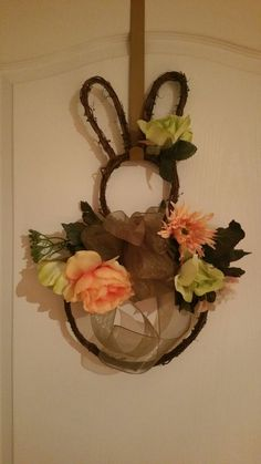 Bunny ratan decorated wreath