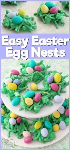 Fun & festive Easter Egg Nests recipe using white chocolate, marshmallows and chocolate eggs of course! Simple dessert recipe by Butter With A Side of Bread via /ButterGirls/