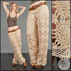 Patrón Pantalón crochet.  Crochet Skirts, Crochet Clothes, Knitted Skirt, Crochet Shoes, Mode Crochet, Knit Crochet, Crochet Style, Crochet Motif, Crochet Bikini