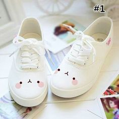 White students hand-painted canvas shoes More Más Kawaii Emoji Printing Canvas Shoes In White sold by KOSMUI. Shop more products from KOSMUI on Storenvy, the home of independent small businesses all over the world. Looks like Molang! I ❤️ Molang For Kawaii Fashion, Cute Fashion, Fashion Shoes, Kawaii Shoes, Kawaii Clothes, Kawaii Outfit, Cute Shoes, Me Too Shoes, Women's Shoes