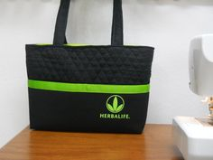 Herbalife Gym Bag / Herbalife Tote Bag / Black and Green Tote Bag / Herbalife / Gym Bag /  Workout Bag / At the GYM