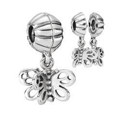 fb9de8dab Best Friends Forever Butterfly, Two-Part Charm. Silver Charm BraceletPandora  ...
