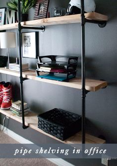 Home office wall shelving ideas incredible shelves for office ideas best ideas about office shelving on . home office wall shelving Room Interior, Interior Design, Regal Design, Man Room, Pipe Furniture, Home And Deco, Home Office, Man Office Decor, Office Ideas