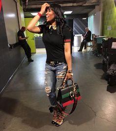 Splurge: Marlo Hampton's Hawks vs. Cavaliers' Gucci Jersey Polo Shirt, GG Supreme Lace-Up Boots and Dionysus Bamboo Handlebag Black Girl Fashion, Cute Fashion, Daily Fashion, Fashion News, Trendy Fashion, Fashion Fashion, Fashion Trends, Chic Outfits, Fashion Outfits