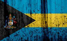 Download wallpapers Bahamian flag, 4k, grunge, North America, flag of Bahamas, national symbols, Bahamas, coat of arms Bahamas, Bahamian national emblem