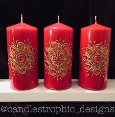 Red Henna Candle Set of Gold Mandala inspired designs Henna Candles, Red Candles, Scented Candles, Pillar Candles, Personalized Candles, Handmade Candles, Creation Bougie, Red Henna, Henna Art