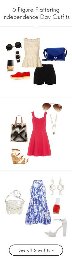 """6 Figure-Flattering Independence Day Outfits"" by jesslindgren ❤ liked on Polyvore featuring Alexander McQueen, Vero Moda, Adieu, Diane Von Furstenberg, Marc by Marc Jacobs, Butter London, Dorothy Perkins, Charlotte Russe, Jules Smith and Rut&Circle"