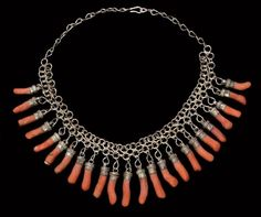 Africa | Kabyle necklace with 24 silver and coral charms.  ca. 1900.  Algeria | 630 € ~ sold