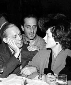 Jack Benny, Basil Rathbone and Myrna Loy, chatting at Hurrell Studio