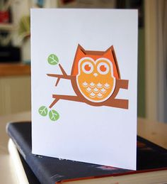 How About Orange owl bookmark with card!  So cute!