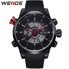 WEIDE Logo Luxury Men Brand Watches PU Strap Quartz Digital Clock Movement Dual Time Zones Display Waterproof Super New Products  http://ali.pub/e7qtp