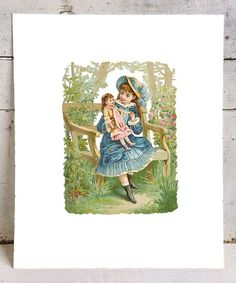 Take a look at this Girl & Doll Print by Miss Annie's Vintage Art on #zulily today!