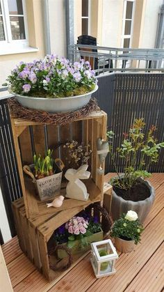 DIY Wooden Crate for Balcony Garden - Balcony Decoration Ideas in Every Unique D. - DIY Wooden Crate for Balcony Garden – Balcony Decoration Ideas in Every Unique Detail - Balcony Plants, House Plants Decor, Balcony Garden, Plant Decor, Landscaping Around Trees, Privacy Landscaping, Landscaping Ideas, Backyard Privacy, Diy Wooden Crate