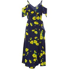 Warehouse Warehouse Delia Flower Frill Wrap Dress Size 6 ($59) ❤ liked on Polyvore featuring dresses, blue pattern, floral dresses, wrap dress, long flower dress, summer wrap dresses and long blue dress