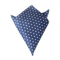 Royal Navy Blue Polka Dots Pocket Square by OTAA | Suit Handkerchief & Men's Pocket Squares  | Online Ties and Accessories  Australia | www.otaa.com.au | OTAA