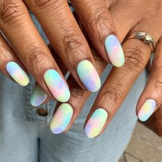 Dreamy huh ☁✨On yet another set of #natural nail goals belonging to @dairyfreenomadPainted with @the_gelbottle_inc Bluefin, Flax, Pink ribbon, Pastel V001, Pastel V110 Nail Art Salon, Nail Art Diy, Easy Nail Art, Cool Nail Art, Diy Nails, Pastel Nail Art, Pastel Clouds, Abstract Nail Art, Cute Summer Nails