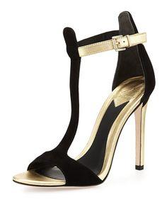 07763319f76f05 Leigha Metallic   Suede T-Strap Sandal