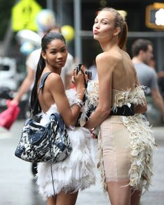 Chanel Iman and Karlie Kloss at Fashion's Night Out New York, September 10-2010 :)