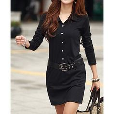 Simple Turn-Down Collar Long Sleeve Solid Color Button Design With Belt Women's DressLong Sleeve Dresses | RoseGal.com