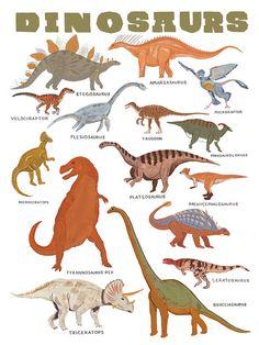 ∆ 11 x 14 impression de certains dinosaures génial  ∆ Imprimé sur papier blanc, doux de coton 25 %  ∆ Illustré à la gouache par Keiko Brodeur  ∆