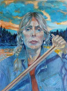 Art print POSTER CANVAS Singer Joni Mitchell Recording at Home