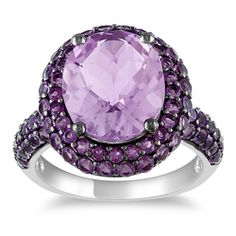 Sterling Silver Rose de France and Amethyst Ring